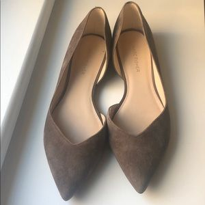 Marc Fisher pointy d'Orsay flats. grey suede 8.5